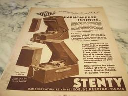 ANCIENNE PUBLICITE  PHONOGRAPHE DE PRECISION DE STENTY 1930 - Posters