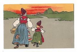 Mère  Et  Petite  Fille  Hollandaises  , Sol Couchant - Dessins D'enfants