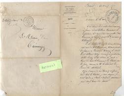 Lettre 1871 / 88 Mairie BAINS LES BAINS / Tableaux Réquisitions Envers Gouvernement Allemand / Tampon BAINS EN VOSGES - France
