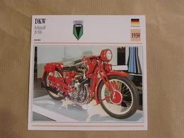 DKW Schüttoff JS 500 Allemagne 1930  Moto Fiche Descriptive Motocyclette Motos Motorcycle Motocyclette - Geïllustreerde Kaarten
