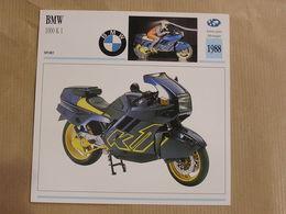 BMW 1000 K 1 Allemagne 1988  Moto Fiche Descriptive Motocyclette Motos Motorcycle Motocyclette - Picture Cards