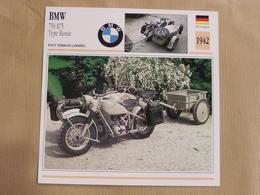 BMW 750 R75 Type Russie Side Car Allemagne 1942  Moto Fiche Descriptive Motocyclette Motos Motorcycle Motocyclette - Picture Cards