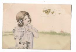 Petite  Fille  , Cloches  Dans  Ciel  Et  Agneau     -  M. M.   Vienne - Dessins D'enfants