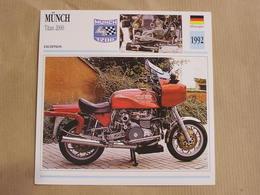 MÜNCH Titan 2000 Allemagne 1992  Moto Fiche Descriptive Motocyclette Motos Motorcycle Motocyclette - Geïllustreerde Kaarten
