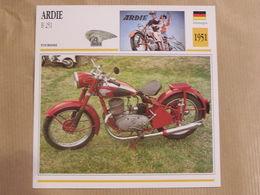 ARDIE B 251  Allemagne 1951  Moto Fiche Descriptive Motocyclette Motos Motorcycle Motocyclette - Picture Cards