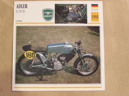 ADLER M 250 RS  Allemagne 1955  Moto Fiche Descriptive Motocyclette Motos Motorcycle Motocyclette - Picture Cards