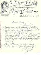 Facture Au Coin De Rue Nouveautés Confections René Peanteur à Charleville En 1906 - France