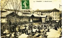 8929 -  Savoie - CHAMBERY : PLACE DU  MARCHE ( HALLES DISPARUES)   Le Marché......-    Circulée En 1910 ....n° 4 - Chambery