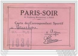 75) Paris Soir - 10 , Faubourg Montmartre - Carte De Correspondant Sportif De 1934 - Agen - Journaliste - Presse) - Arrondissement: 09