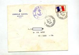 Lettre Cachet Brest Entrepor Sur Franchise Miltaire Drapeau  + Cercle Naval - Marcophilie (Lettres)