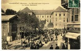 8931 -  Savoie - CHAMBERY : PLACE DU  MARCHE , Le Marché.et CAFE  FOLLIET ...-    Circulée En 1910   ..n° 6 - Chambery
