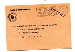 Lettre Franchise Militaire Flamme Guilvinec Peche Phare Crabe  Entete Marine Marchande - Marcophilie (Lettres)