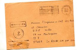 Lettre Franchise Militaire Flamme Brest Naval 100 Ans Sous-marins  + Marine - Postmark Collection (Covers)
