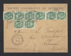 Type Blanc 5c Bande De 6 Et De 2 Sur Enveloppe Entête Coopé Beurrerie TAD St Agnant Les Marais 28/2/31 Vers Libourne - Postmark Collection (Covers)