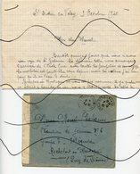 DOCUMENT.  Courrier .Enveloppe + Lettre . Chantier De Jeunesse No 5  Groupe 7- 70eme Equipe.  ROCHEFORT En MONTAGNE . - Vieux Papiers