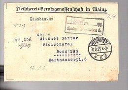Lokalausgabe Fleischerei Mainz 1923 Wiesbaden > Michael Sarter (re-661) - Briefe U. Dokumente