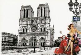 PIN-UP Assise Sur Une VESPA ROUGE. Illustration De La Cathédrale Notre-Dame De Paris. KISS FROM PARIS - Motorbikes