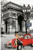 PIN-UP Assise Sur Le Capot   D'une CITROËN 2 Cv ROUGE. Illustration De L'Arc De Triomphe. KISS FROM PARIS - Passenger Cars