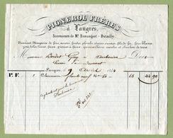 """LANGRES  (1844) : """" FERS & METAUX - PIGNEROL Frères """" - France"""