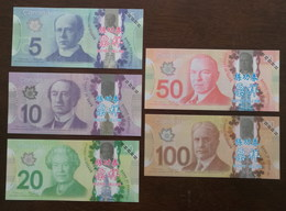 (Replica)BOC (bank Of China) Training/test Banknote,Canada Dollars E Series Set Of 5 Different Note Specimen Overprint - Canada
