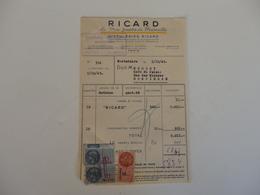 Facture Des Ets Ricard à Marseille (13). - 1900 – 1949