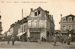 19.OBJAT.  Grande Place Et Avenue Du Moulin Neuf. Commerces, Attelages. 1912 - Otros Municipios