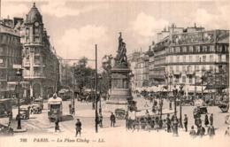75 PARIS LA PLACE CLICHY CIRCULEE SOUS ENVELOPPE - Plazas
