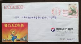 Cartoon Lion,preeminent Spirit,China 2004 Fanghua Textile Group Advertising Postal Stationery Envelope - Félins