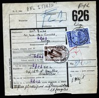 A5999) Belgien Paketkarte Bruxelles 23.02.50 N. Liege - Belgium