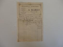 Facture épicerie & Mercerie A. Rabet à Villeneuve-sur-Allier (Allier). - 1900 – 1949