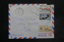 NOUVELLE CALÉDONIE - Enveloppe En Recommandé De Nouméa Pour Nice En 1961 , Affranchissement Plaisant - L 26428 - Briefe U. Dokumente