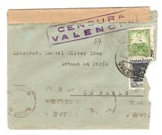 SPAIN ESPAGNE LETTRE 1937 POUR LA BAULE FRANCE - CENSURA VALENCIA - EMA LA BAULE GOLF 18 TROUS PLAGE SOLEIL - Marcas De Censura Nacional