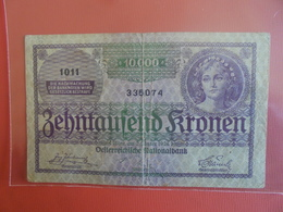 AUTRICHE 10.000 KRONEN 1924 CIRCULER - Austria