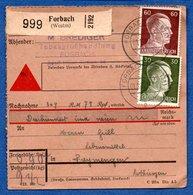 Colis Postal -  Départ Forbach  -  01/12/1942 - Duitsland