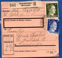 Colis Postal -  Départ Kneuttingen - Nilvingen  - 02/12/1942 - Allemagne