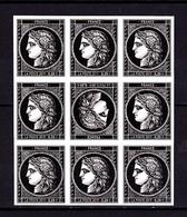 Cérès Bloc 9 X 0.20 € Non Dentelé Avec Tête-bêche, 170 Ans Du Premier Timbre De France 1849/2019 - Unused Stamps