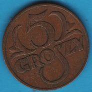 POLAND 5 GROSZY 1938  Y# 10  RZECZPOSPOLITA POLSKA - Polonia