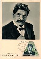 Dr Albert Schweitzer - Monaco 1955 - Prix Nobel - Carte Maxi - Maximumkarten (MC)