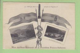 LES CLAVIERES, Montgenèvre : Souvenir De La Frontière Franco - Italienne, Obélisque Mémoire De Napoléon. 2 Scans. - Autres Communes