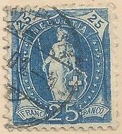 Stehende Helvetia 73D, 25 Rp.dunkelblau  SCHAFFHAUSEN        1901 - Usati