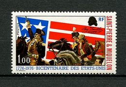 SPM MIQUELON 1976 N° 449 ** Neuf MNH Superbe C 7,50 € Indépendance Des Etats-Unis Chevaux Horses Drapeaux Animaux - St.Pierre & Miquelon