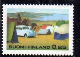 SUOMI FINLAND FINLANDIA FINLANDE 1968 SUMMER TOURISM CAMPING LAKE GROUND CAR 0.25 MNH - Nuovi
