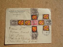 Enveloppe Affranchissement Composé En Forme De Croix De Lorraine Oblitération Fontainebleau 1947 - Marcophilie (Lettres)