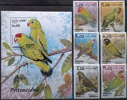 Afghanistan, 1999, Mi. 1923-28, 1929 (bl. 116), Birds, Parrots, MNH - Pappagalli & Tropicali