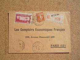 Enveloppe Recommandée Affranchissement Composé Oblitération Meulan 1933 - Marcophilie (Lettres)