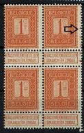 108  Bloc 4  **  Le N° De Feuille Est Sur Le Timbre Impeccable, Le T 3 Est Rouillé - 1912 Pellens