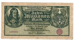 DANZIG  10000000 10.000.000 Mark 31/8/1923 Pick#25b  Foro Centrale Lotto.1952 - [11] Emissioni Locali