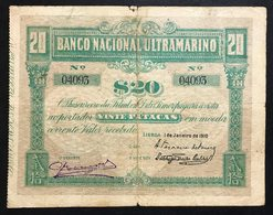 Timor Banco Nacional Ultramarino 20 Patacas 01/01/1910 Pick#4  Lotto.1969 - Timor