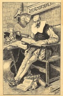 1899 CERVANTES - DON QUIJOTE / QUICHOTTE - DIBUJO A TINTA - FIRMADO BAUDRY - EXCELENTE CALIDAD - Dessins