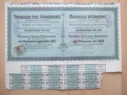 """BANQUE & ASSURANCE - BANQUE D' ORIENT ( ATHENES ) - 1ER JUILLET 1910 - UNE ACTION... FRANCS 125 OR ---- """" TRES RARE  """" - Banque & Assurance"""